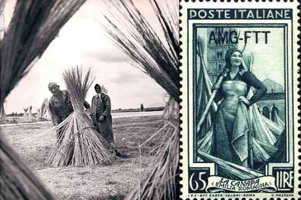 Un francobollo del 1950 che commemora la canapa in Italia